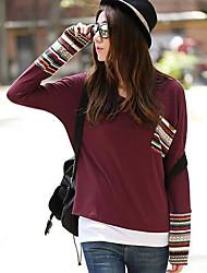 Damen Druck Einfach / Street Schick Lässig/Alltäglich T-shirt Frühling / Herbst Langarm Rot / Grün Baumwolle Mittel