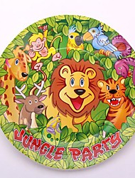 Coway 50pcs 7*7 Jungle Party Birthday Party Disposable Paper Dish Plate Fruit Cake