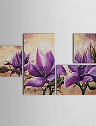 Hand Painted Oil Painting Floral Purple Flower Art with Stretched Frame Set of 4