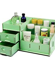 Caixa de armazenamento de maquiagem 1pcs artigos diversos de mesa de madeira