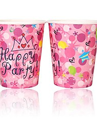 Coway 50PCS Pink Crown Birthday Party Disposable Paper Cup Cartoon Environmental Protection
