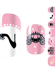 1PCS Lovely Girl Black High Heels Pink Wedding Nail Art Stickers