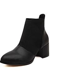 Calçados Femininos - Botas - Bico Fino / Botas da Moda - Salto Grosso - Preto / Marrom - Couro Sintético - Social