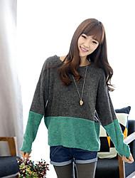 Kakani Frauen Langarm Rundkragen in Kontrastfarbe Pullover