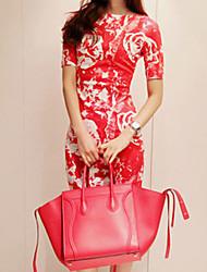le style coréen xiaonvren floral dress_x01 d'impression (rouge)