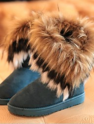 Women's Winter Snow Boots Suede Casual Flat Heel Feather Tassel Black Blue Yellow
