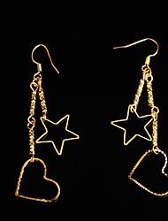 star de la mode et en forme de coeur en métal doré boucles d'oreille