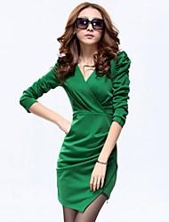 Xier colore solido montato bodycon vestito di vestito