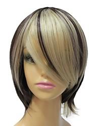 grau superior sem tampa mista cor sintética peruca curta reta