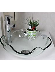 contemporâneo clara vantagem onda rodada temperado pia vaso de vidro com torneira conjunto