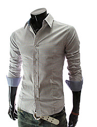 QUIT Men's Casual Long Sleeve Check Prints Shirt