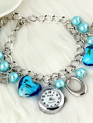 Women's Fashion Watch Bracelet Watch Quartz Alloy Band Heart shape Flower Pearls Elegant Blue Brand