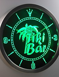 nc0385 la barre de tiki palmier signe de la bière au néon conduit horloge murale