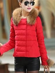 YIBEIER® Women's Raccoon Fur Collar Triangle Pocket Slim Casual Coat