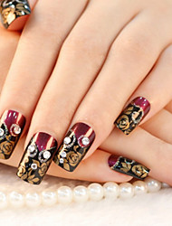 24PCS Punk Golden&Black&Red Nail Art Tips With Nail Glue&Nail File