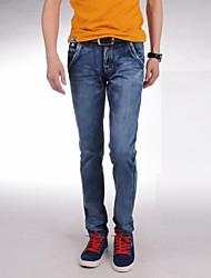 Männer 2014 neue Mode, mittelhohes ZipFly gebleichtem gerissen kombinierten Körper lange Röhrenjeans