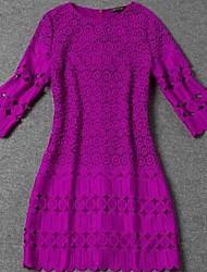 violet soluble dans l'eau bourgeon de fleur en soie à manches longues col rond robe des femmes