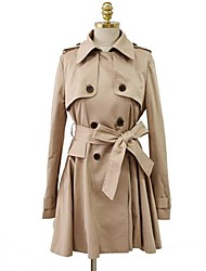 Women's Elegant Double-breasted Bow Swing Trench Coat