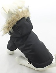 Cat / Dog Coat / Hoodie Red / Green / Blue / Purple / Black Dog Clothes Winter Solid Keep Warm / Windproof
