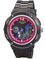 Children's Dual Time Zones PU Band Multifunction LED Sports Wrist Watch 50m Waterproof (Assorted Colors)