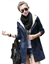 TS Women's Fashion  Slim Cut Jeans Hooded Wind Coat
