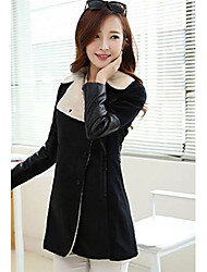 Women's In The Long Splicing Sleeve Cloth  Lapels Coat