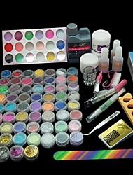 42PCS Pro Acrylic Powder Liquid Glitter Beads Brush Nail Art Tool Set Kit