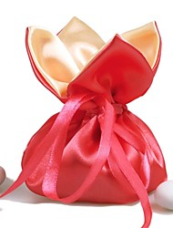 10 PCS Wedding Candy Favor Bags Red Silk Satin Drawstring Pouch for Party