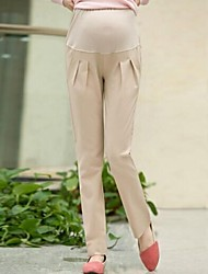 Maternity Casual/Work/Plus Sizes Straight Pants , Cotton Blends Micro-elastic