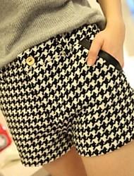 tempo libero stile britannico tasca dei pantaloni di pelle lotta piviere plaid di lana delle donne