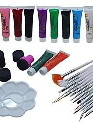 29PCS  White Painting Brush Kits 2-Way Pen Nail Art Dotting Tools Set