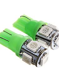 t10 1W 100lm 5 x 5050 SMD LED grünes Licht für Armaturenbrett / Tür / trunk Lampen (12 V DC 2 Stück)