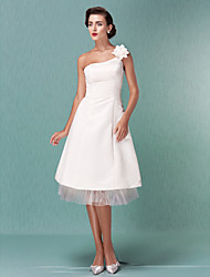 Lanting Bride A-line / Princess Petite / Plus Sizes Wedding Dress-Knee-length One Shoulder Satin / Tulle
