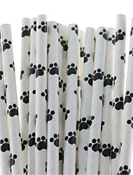 Cute Bear Paw Design Paper Drinking Straws (25 PCS)