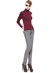 Women's Casual/Daily Simple Spring / Fall / Winter Blouse,Solid Long Sleeve Red / Beige / Gray / Green Polyester Thin