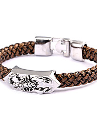punk, scorpion de style bracelet en cuir marron (1 pc)