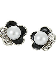 Daisy Women's Fashion Diamond Pearl Flower Earrings