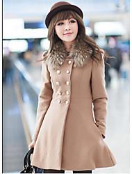 SHALALI Women's A-Line Fur Collar Long Sleeve Woolen Coat