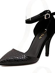 Pompes / Talons ( Noir/Blanc Chaussures à talons/Bout pointu - Talon aiguille - Cuir verni - pour FEMMES