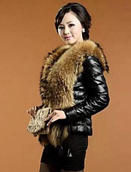Women's Sheep Phi Clothing Raccoon Fur Collar Fur Coat
