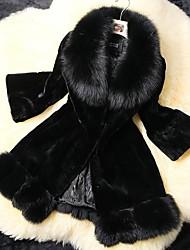 moda grande pele de lapela casaco longo das mulheres