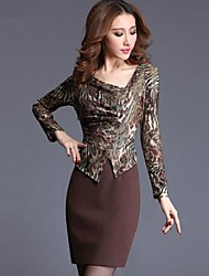 Women's Asymmetrical Lace Patchwork Long Sleeve Dress