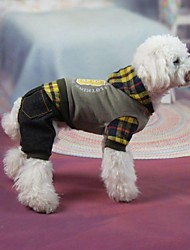 Dog Coat Gray Winter Jeans / Plaid/Check