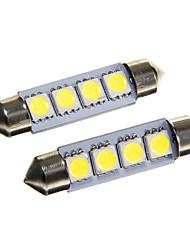 4 * 5050 SMD LED voiture de 42mm dôme intérieur feston ampoule lumière blanche (DC12V 2pcs)
