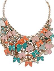 Women's EU&US Luxurious Layers Butterfly Cluster Bib Statement Necklace