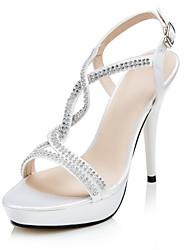 Wedding Shoes - Sandálias - Saltos / Plataforma / Tira em T - Preto / Vermelho / Branco - Feminino - Casamento