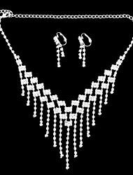 argenté boucles d'oreilles serties de diamants plaqués& ensemble de collier pour les nobles dames (1 jeu) (b)