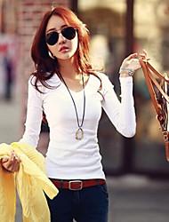 여성의 V 넥 긴 소매 티셔츠 면
