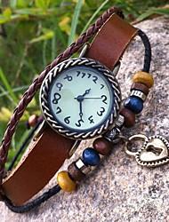 Women's Retro High Quality Heart-Shaped Lock Leather Quartz Movement Bracelet Watches