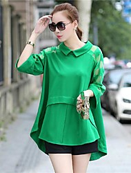 Women's Solid Blue/Black/Green Blouse , Shirt Collar Long Sleeve Mesh